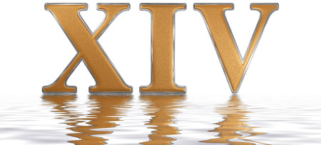 meditative: Roman numeral XIV, quattuordecim, 14, fourteen, reflected on the water surface, isolated on  white, 3d render