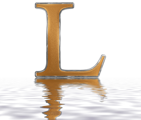 Roman numeral L, quinquaginta, 50, fifty, ireflected on the water surface, isolated on  white, 3d render