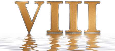 meditative: Roman numeral VIII, octo, 8, eight, reflected on the water surface, isolated on  white, 3d render