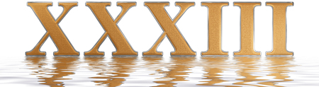 Roman numeral XXXIII, tres et triginta, 33, thirty three, reflected on the water surface, isolated on  white, 3d render Фото со стока