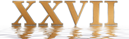 Roman numeral XXVII, septem et viginti, 27, twenty seven, reflected on the water surface, isolated on  white, 3d render