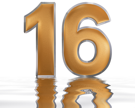 meditative: Numeral 16, sixteen, reflected on the water surface, isolated on  white, 3d render Stock Photo