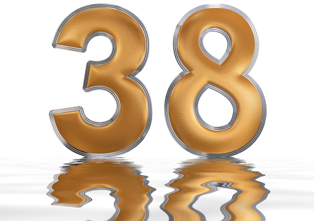 meditative: Numeral 38, thirty eight, reflected on the water surface, isolated on  white, 3d render Stock Photo