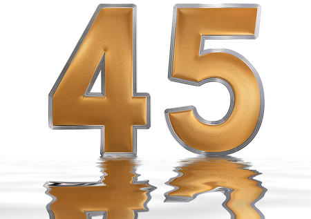 meditative: Numeral 45, forty five, reflected on the water surface, isolated on  white, 3d render