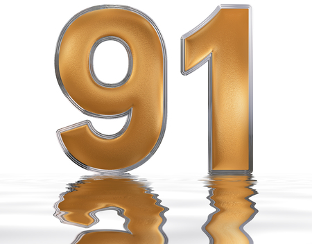 Numeral 91, ninety one, reflected on the water surface, isolated on  white, 3d render Stock Photo