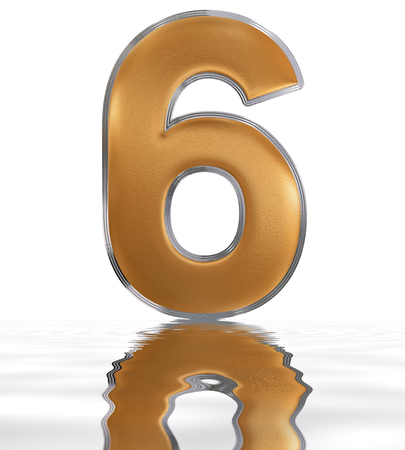 meditative: Numeral 6, six, reflected on the water surface, isolated on  white, 3d render Stock Photo