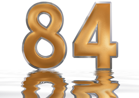 Numeral 84, eighty four, reflected on the water surface, isolated on  white, 3d render