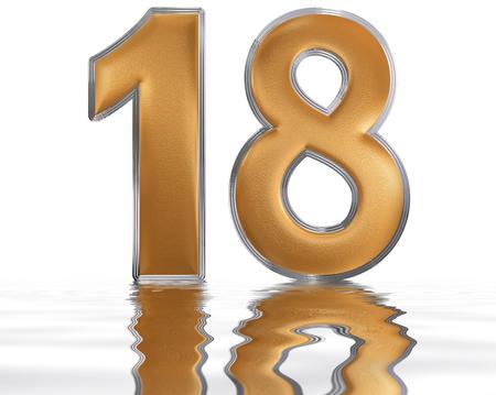 Número Romano Xviii Duodeviginti 18 Dieciocho Reflejado En La
