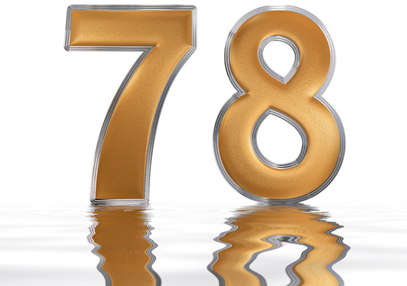 meditative: Numeral 78, seventy eight, reflected on the water surface, isolated on  white, 3d render