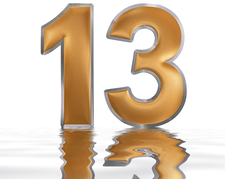 Numeral 13, thirteen, reflected on the water surface, isolated on  white, 3d render Stock Photo