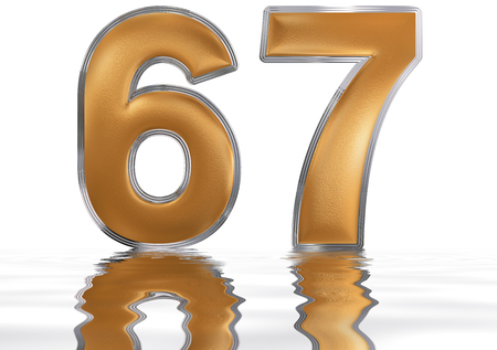 meditative: Numeral 67, sixty seven, reflected on the water surface, isolated on  white, 3d render Stock Photo