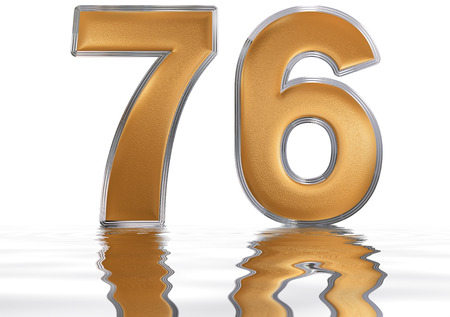 meditative: Numeral 76, seventy six, reflected on the water surface, isolated on  white, 3d render Stock Photo