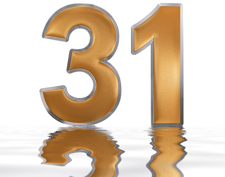 Numeral 31, thirty one, reflected on the water surface, isolated on  white, 3d render Stock Photo