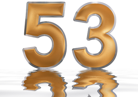 Numeral 53, fifty three, reflected on the water surface, isolated on  white, 3d render Stock Photo