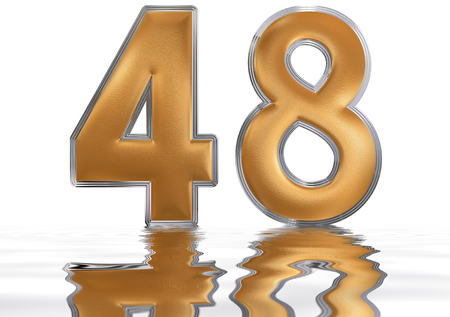Numeral 48, forty eight, reflected on the water surface, isolated on  white, 3d render