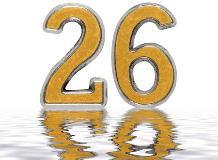 Numeral 26, twenty six, reflected on the water surface, isolated on white, 3d render Stock Photo