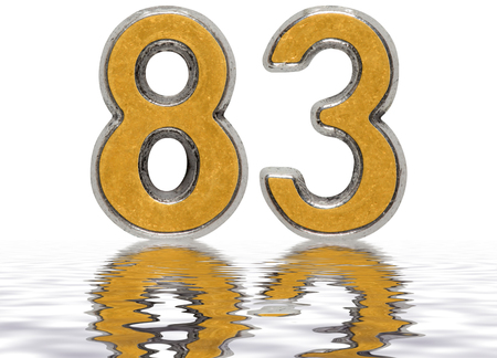 Numeral 83, eighty three, reflected on the water surface, isolated on white, 3d render