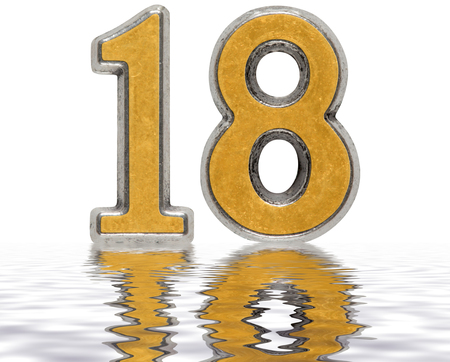 Numeral 18, eighteen, reflected on the water surface, isolated on white, 3d render Stock Photo