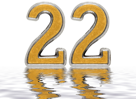 Numeral 22, twenty two, reflected on the water surface, isolated on white, 3d render