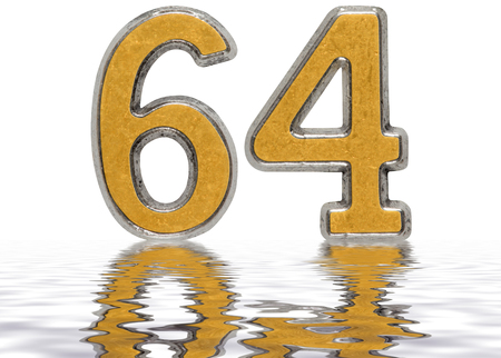Numeral 64, sixty four, reflected on the water surface, isolated on white, 3d render Stock Photo