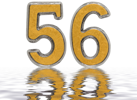 Numeral 56, fifty six, reflected on the water surface, isolated on white, 3d render