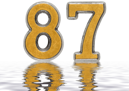 Numeral 87, eighty seven, reflected on the water surface, isolated on white, 3d render Stock Photo