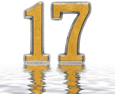 Numeral 17, seventeen, reflected on the water surface, isolated on white, 3d render Stock Photo