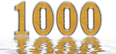 Numeral 1000, one thousand, reflected on the water surface, isolated on white, 3d render Stock Photo