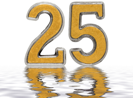 Numeral 25, twenty five, reflected on the water surface, isolated on white, 3d render Stock Photo