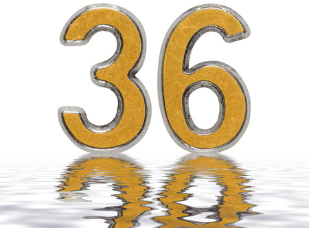Numeral 36, thirty six, reflected on the water surface, isolated on white, 3d render