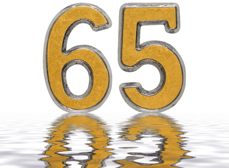 Numeral 65, sixty five, reflected on the water surface, isolated on white, 3d render