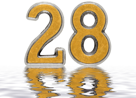 Numeral 28, twenty eight, reflected on the water surface, isolated on white, 3d render