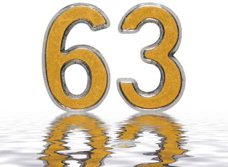Numeral 63, sixty three,reflected on the water surface, isolated on white, 3d render