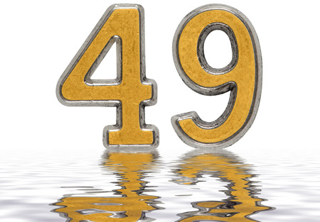 Numeral 49, forty nine, reflected on the water surface, isolated on white, 3d render Stock Photo