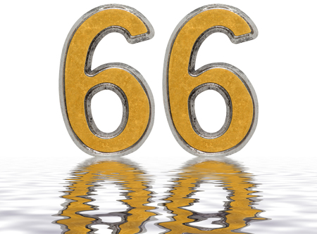 Numeral 66, sixty six, reflected on the water surface, isolated on white, 3d render Stock Photo