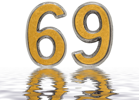 Numeral 69, sixty nine, reflected on the water surface, isolated on white, 3d render