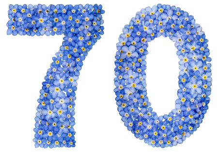 Arabic numeral 70, seventy, from blue forget-me-not flowers, isolated on white background Stock Photo