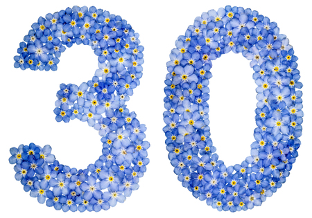 Arabic numeral 30, thirty, from blue forget-me-not flowers, isolated on white background
