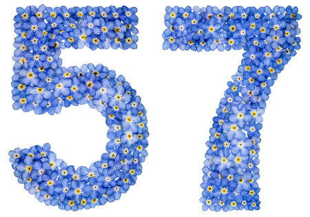 Arabic numeral 57, fifty seven, from blue forget-me-not flowers, isolated on white background