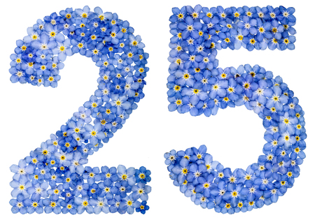 Arabic numeral 25, twenty five, from blue forget-me-not flowers, isolated on white background