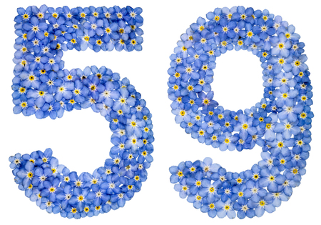 Arabic numeral 59, fifty nine, from blue forget-me-not flowers, isolated on white background Stock Photo