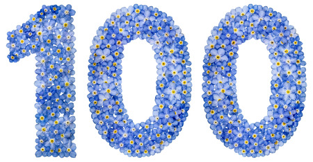computation: Arabic numeral 100, one hundred, from blue forget-me-not flowers, isolated on white background