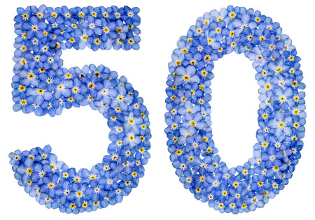 Arabic numeral 50, fifty, from blue forget-me-not flowers, isolated on white background