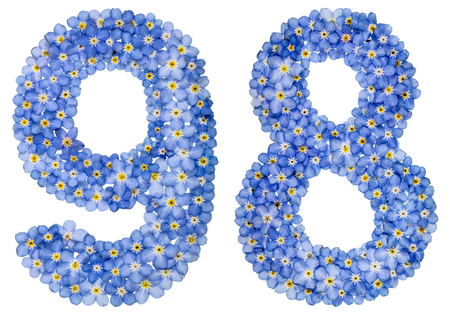 Arabic numeral 98, ninety eigh, from blue forget-me-not flowers, isolated on white background