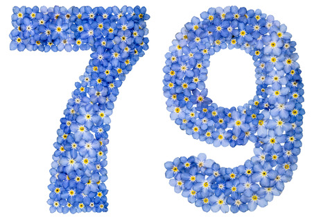computation: Arabic numeral 79, seventy nine, from blue forget-me-not flowers, isolated on white background