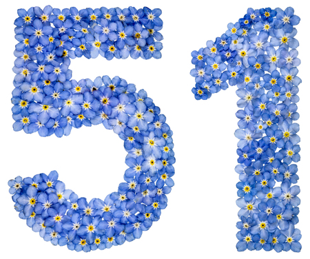 computation: Arabic numeral 51, fifty one, from blue forget-me-not flowers, isolated on white background
