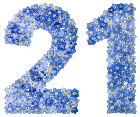 Arabic numeral 21, twenty one, from blue forget-me-not flowers, isolated on white background Stock Photo