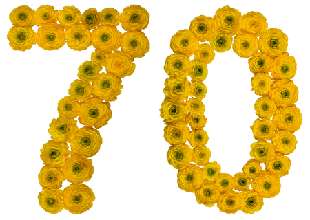 Arabic numeral 70, seventy, seven, from yellow flowers of buttercup, isolated on white background