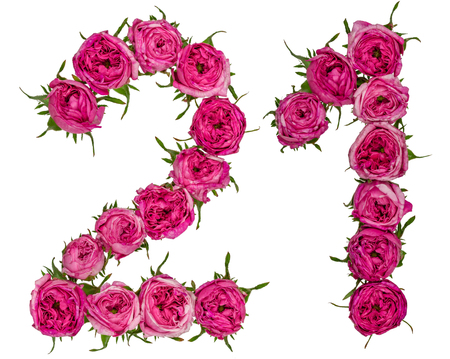 Arabic numeral 21, twenty one, from red flowers of rose, isolated on white background Stock Photo