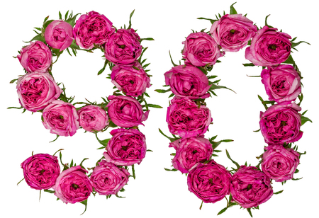 computation: Arabic numeral 90, ninety, nine, from red flowers of rose, isolated on white background